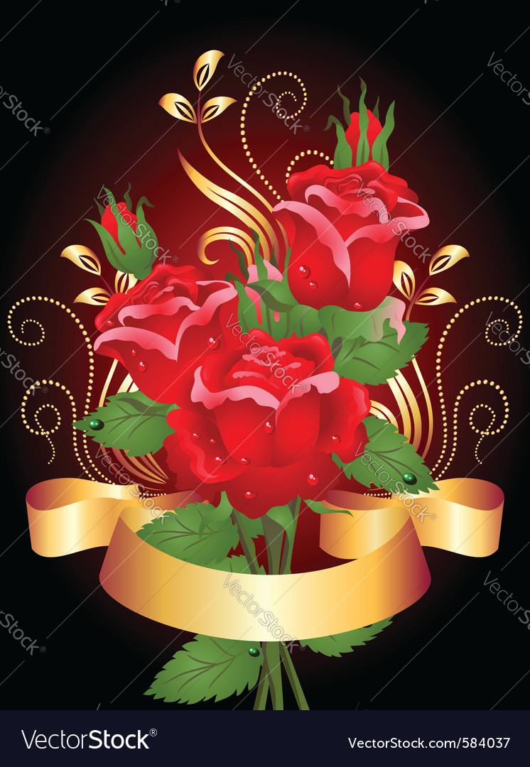 Roses and ribbon vector | Price: 1 Credit (USD $1)