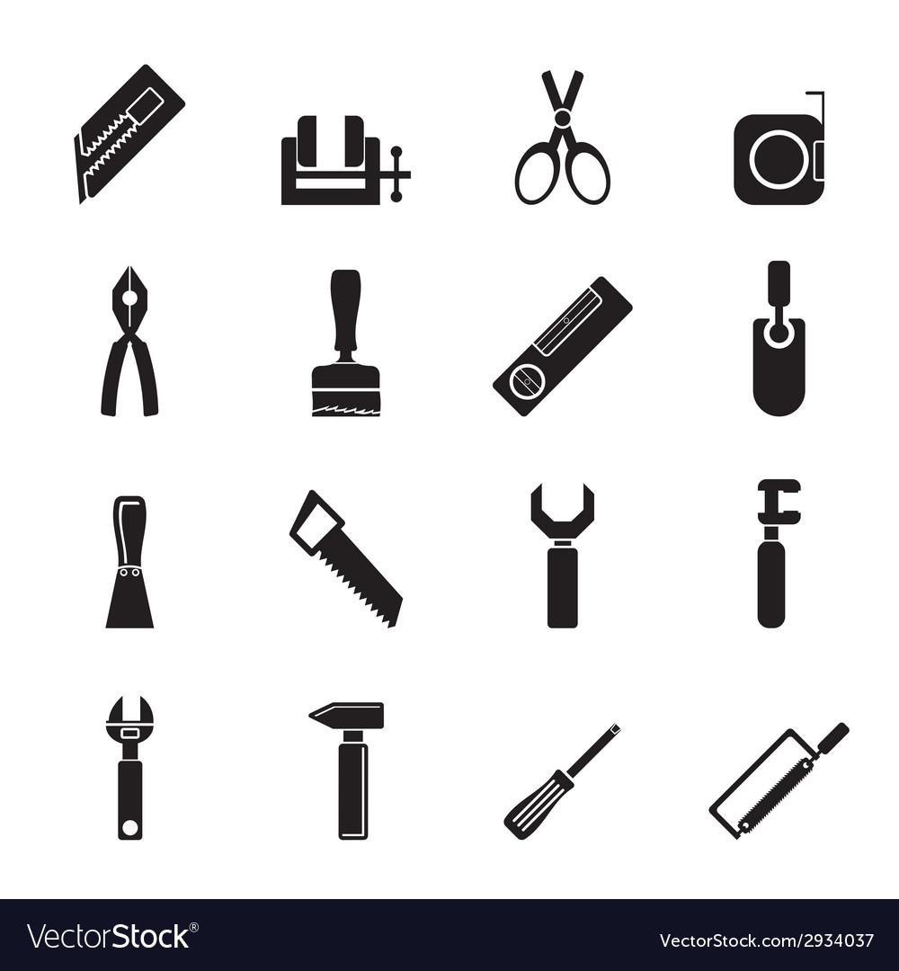 Silhouette building and construction tools icons vector | Price: 1 Credit (USD $1)