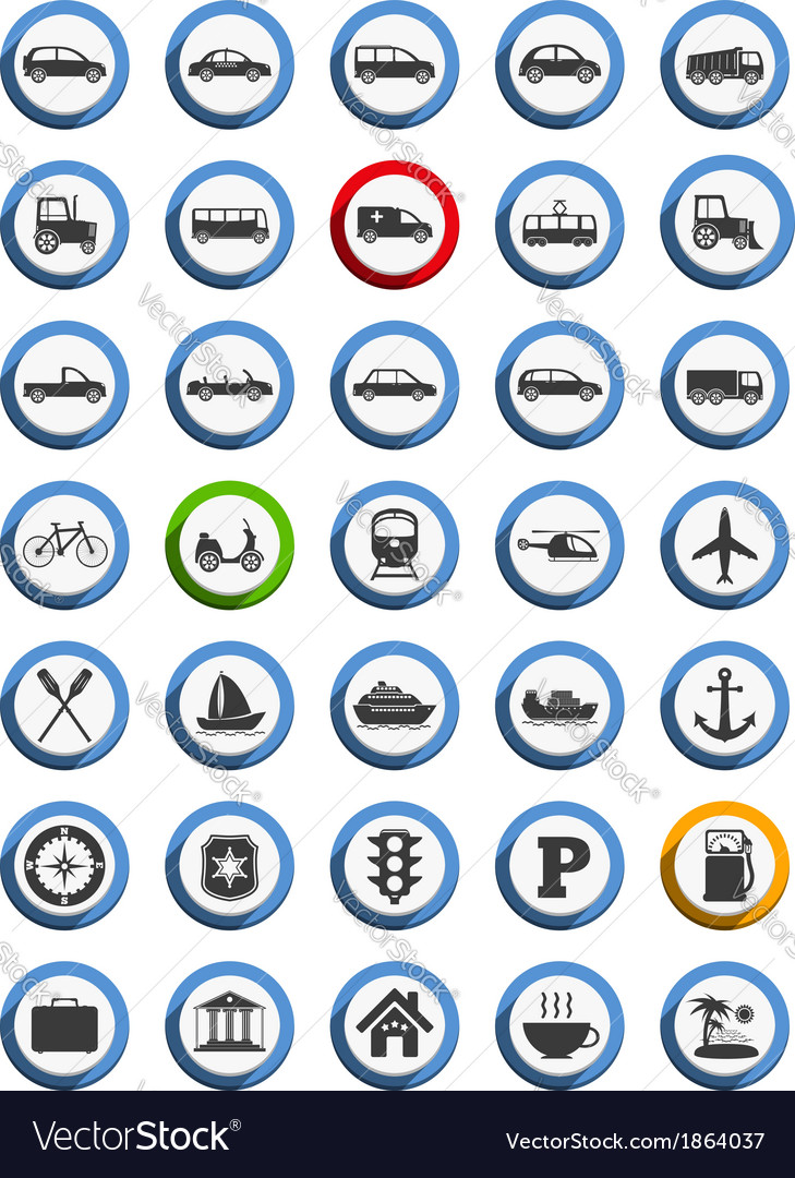 Transportation nautical and travel icons vector | Price: 1 Credit (USD $1)