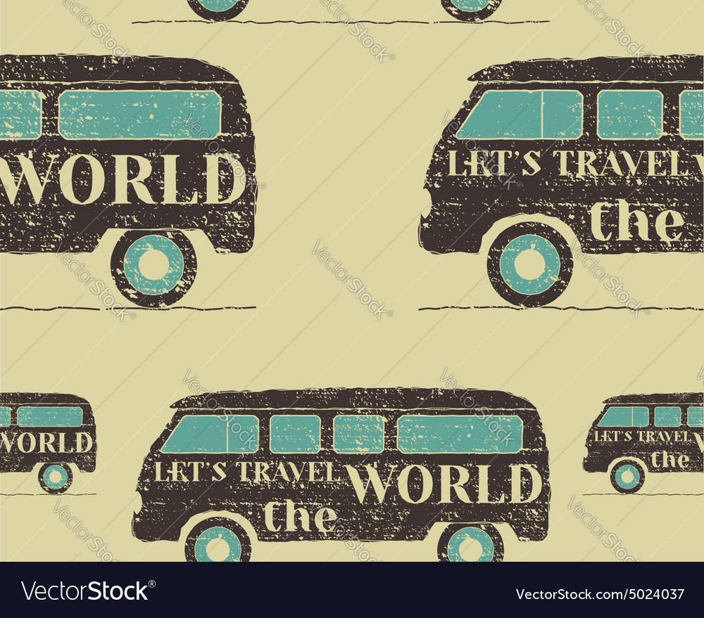 Vintage seamless pattern camping retro rv and vector