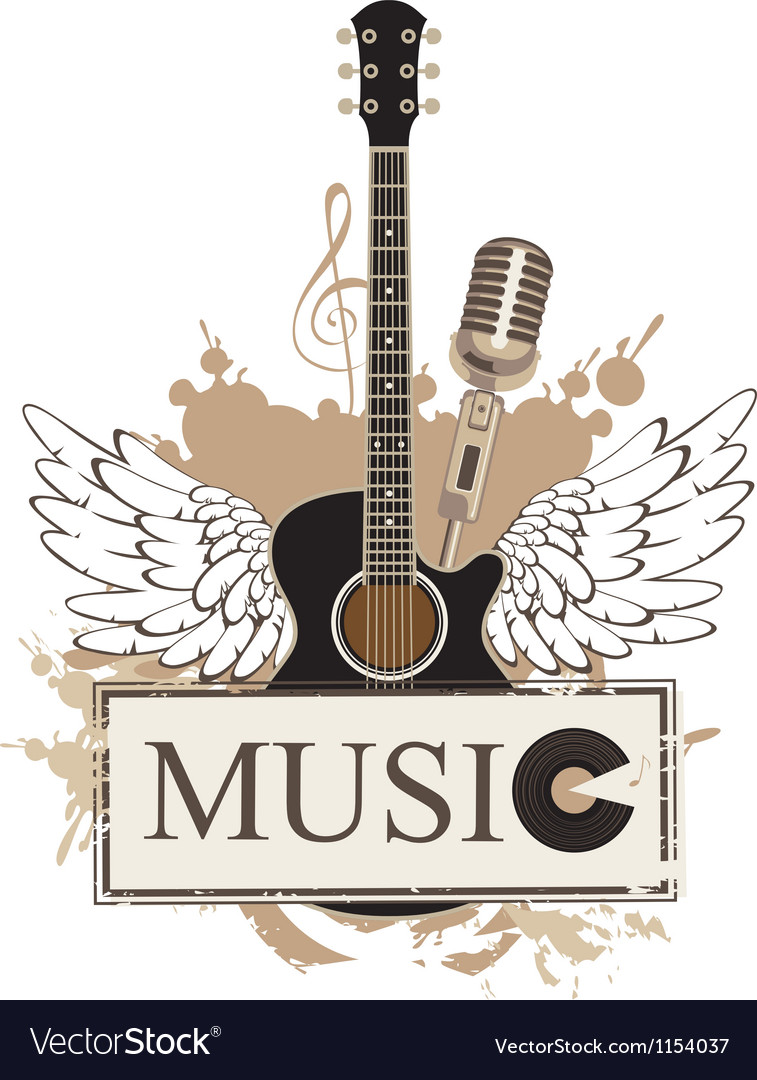 Wings with a guitar vector | Price: 1 Credit (USD $1)