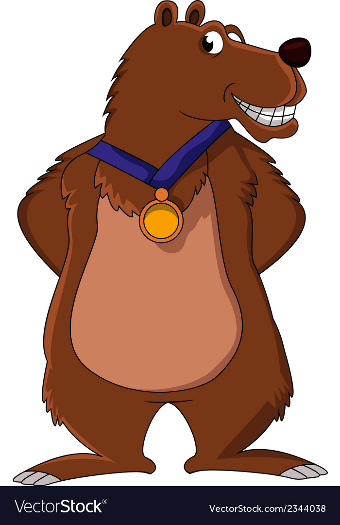 Bear cartoon smiling with medal vector   Price: 1 Credit (USD $1)