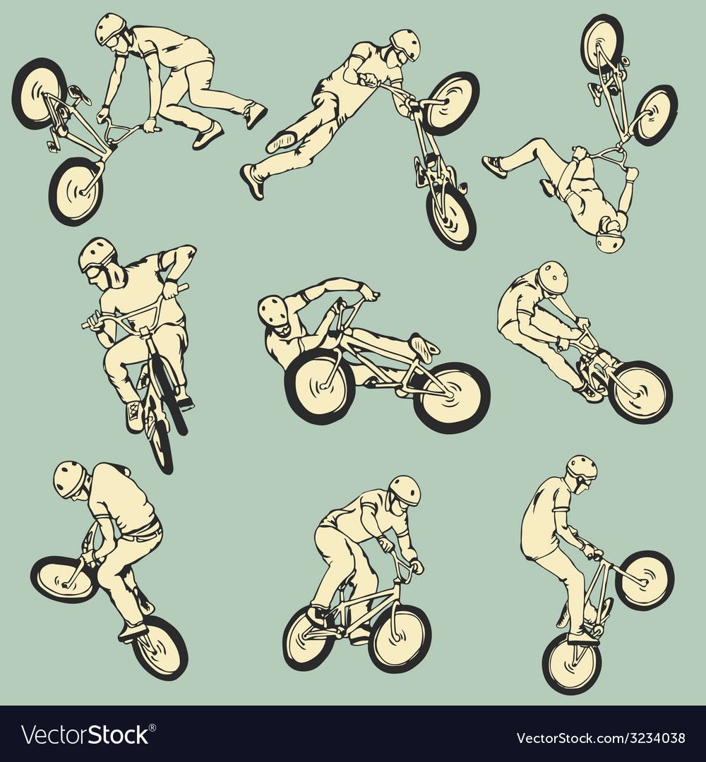 Bmx free style sport collection vector | Price: 1 Credit (USD $1)