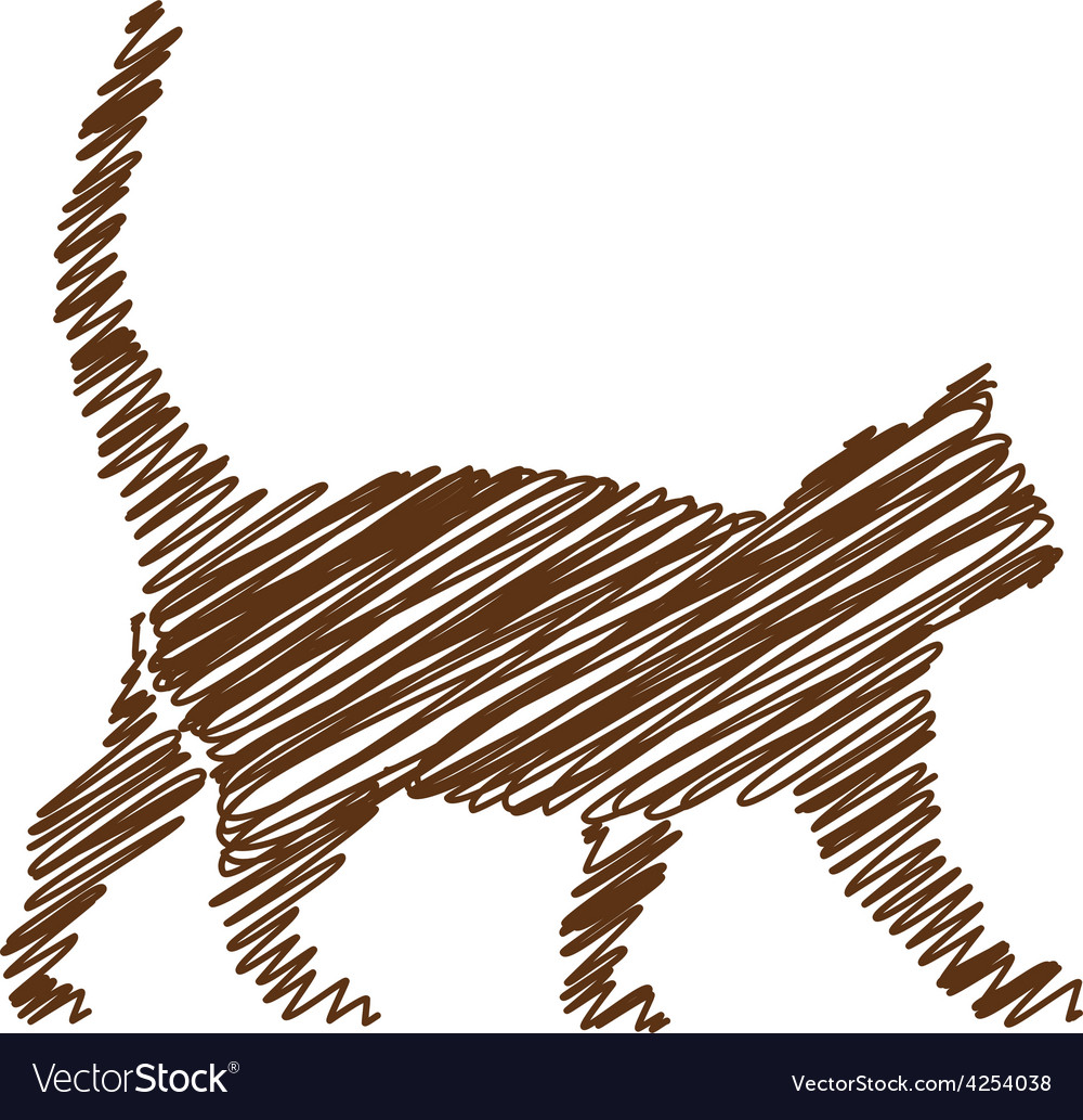 Cat handwriting picture vector | Price: 1 Credit (USD $1)