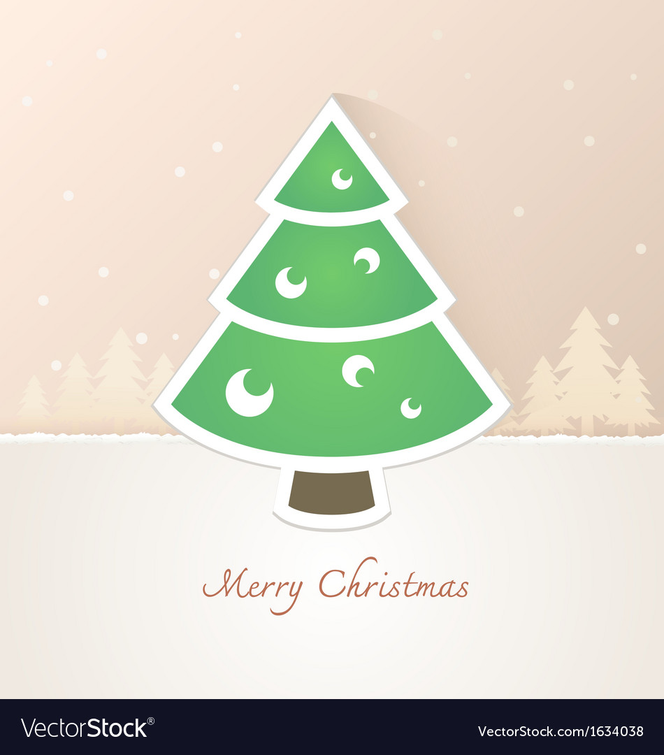 Christmas tree paper with snow background vector | Price: 1 Credit (USD $1)