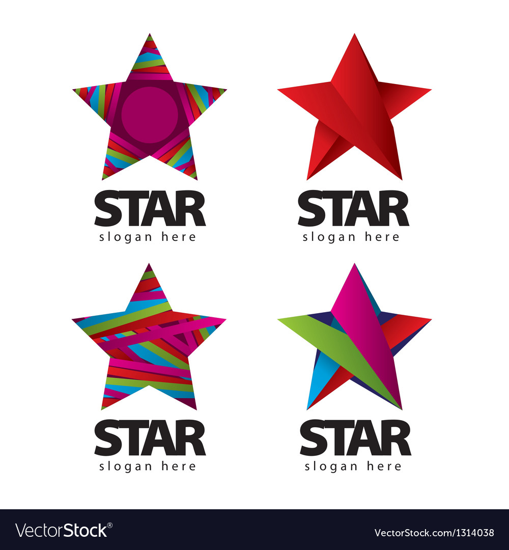 Collection of logo with a star vector | Price: 1 Credit (USD $1)