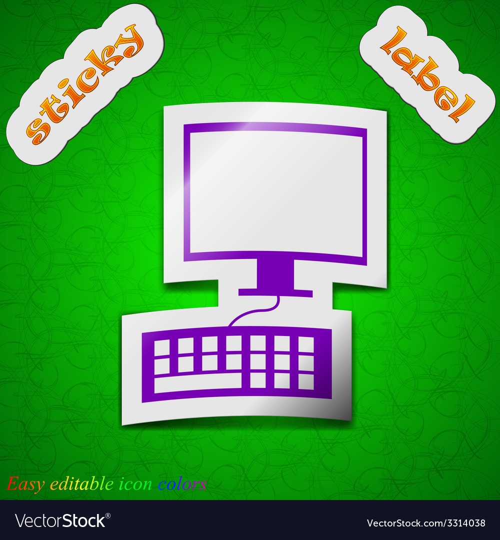 Computer monitor and keyboard icon sign symbol vector | Price: 1 Credit (USD $1)