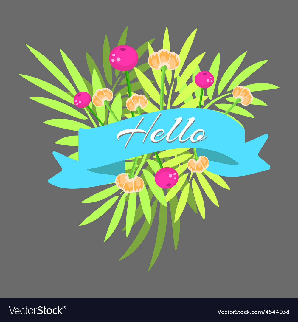 Exotic leaves bouquet with ribbon vector | Price: 1 Credit (USD $1)