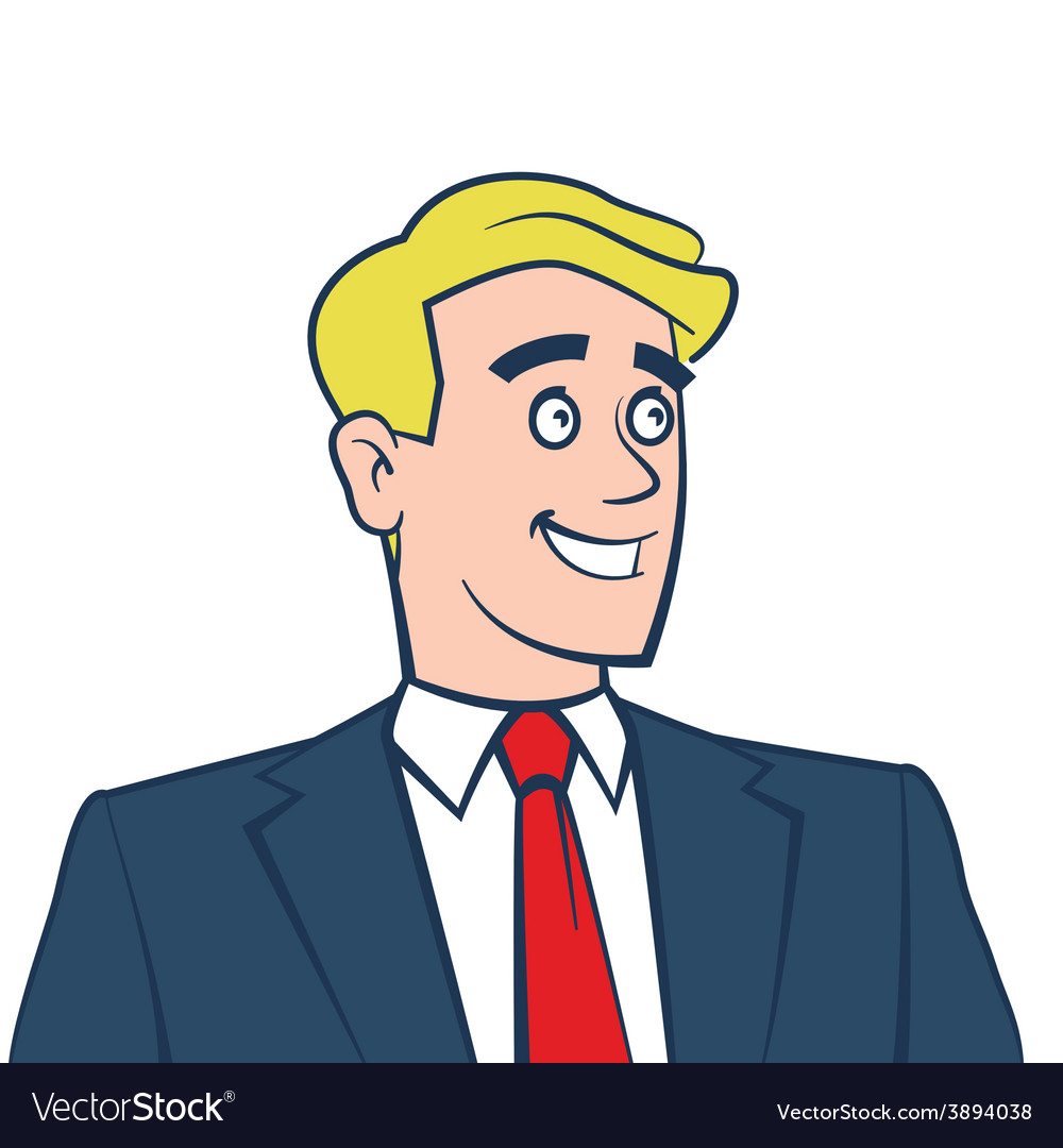 Happy smiling businessman looking away vector | Price: 1 Credit (USD $1)