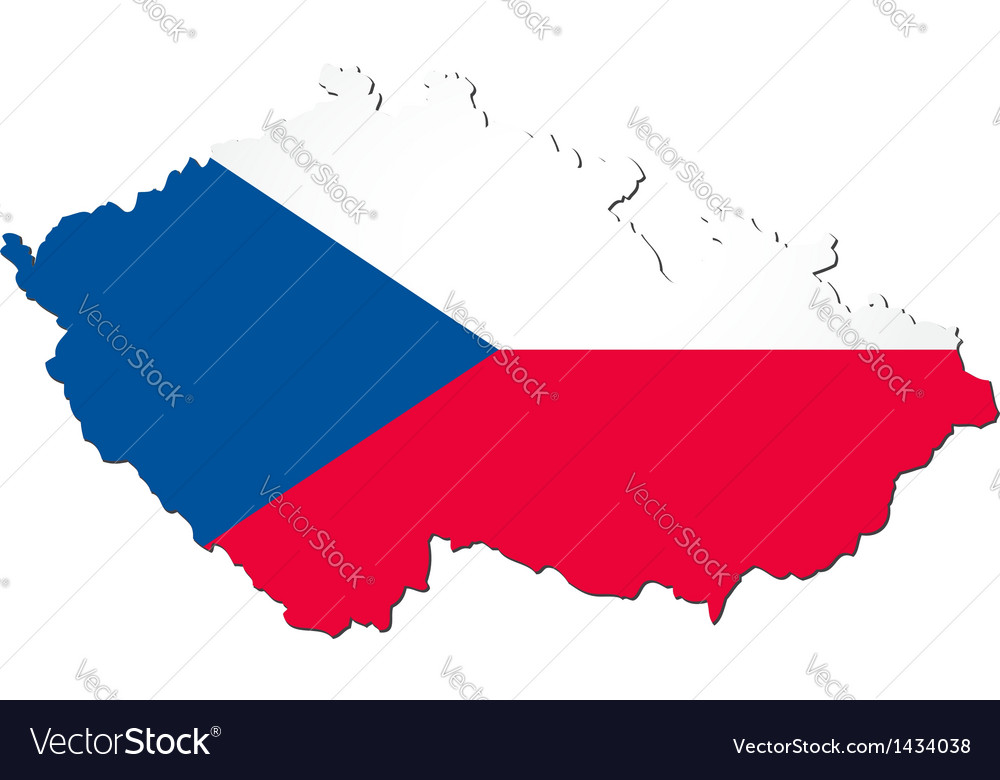 Map of the czech republic with national flag vector | Price: 1 Credit (USD $1)