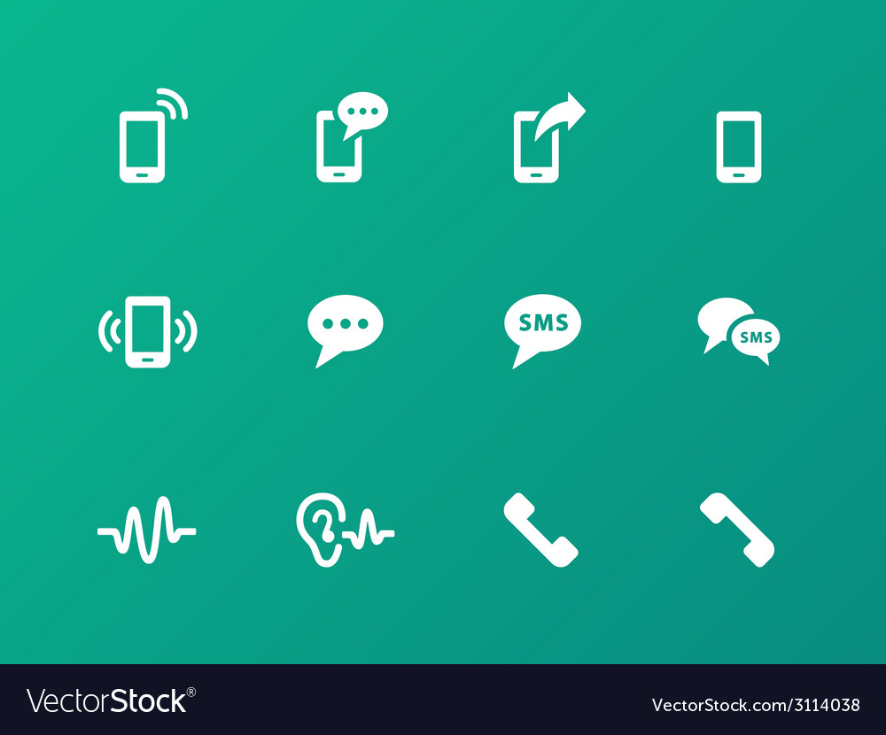 Phone icons on green background vector | Price: 1 Credit (USD $1)