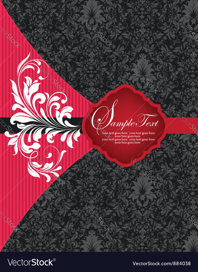 Red and black damask invitation card vector | Price: 1 Credit (USD $1)