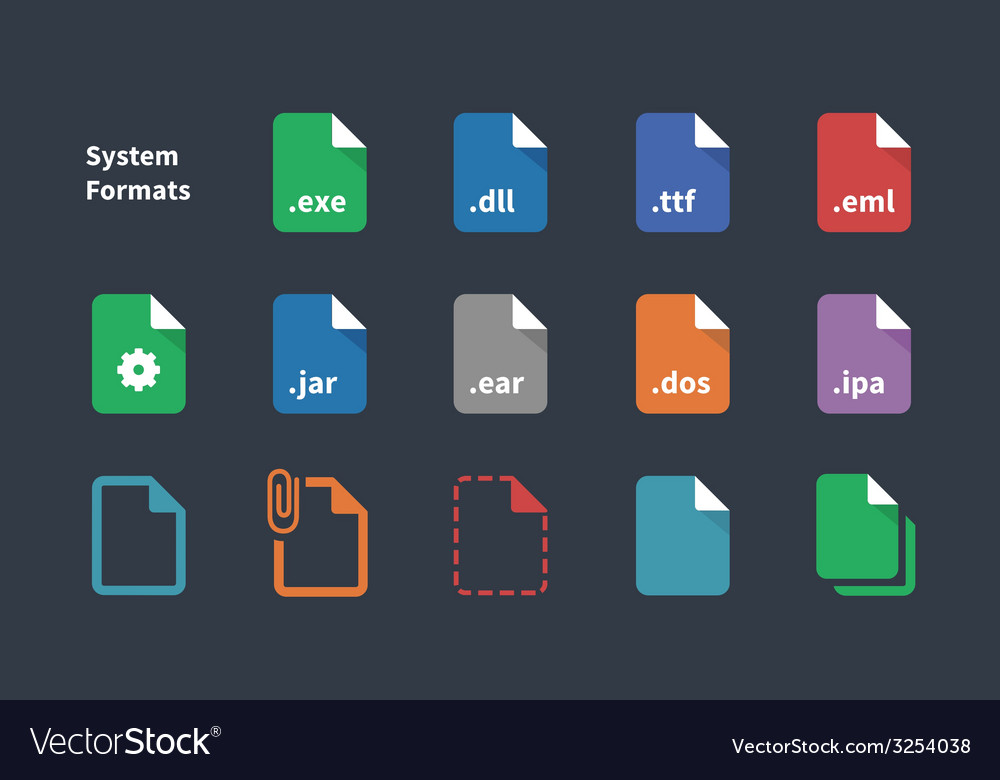 Set of system file formats icons vector | Price: 1 Credit (USD $1)
