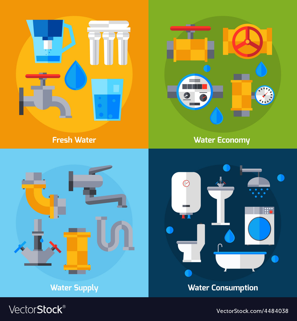 Water supply set vector | Price: 1 Credit (USD $1)