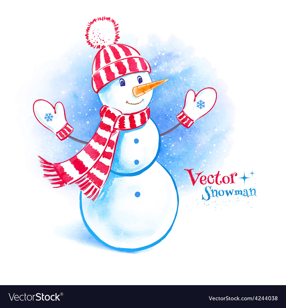 Watercolor cute snowman vector | Price: 1 Credit (USD $1)
