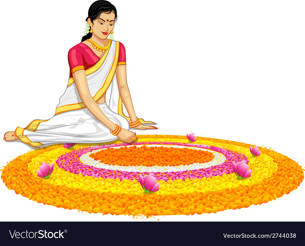 Woman making rangoli for onam vector | Price: 1 Credit (USD $1)