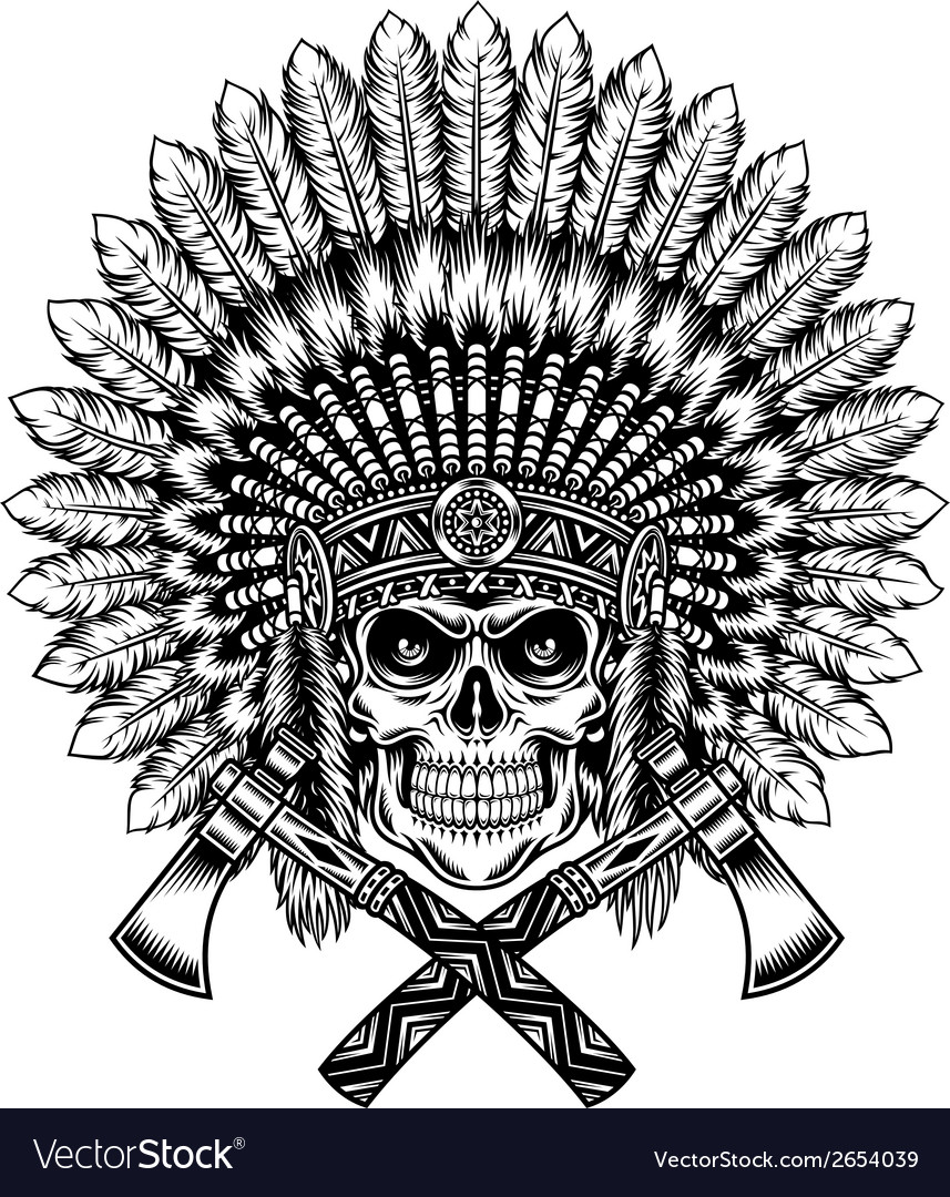American indian chief skull with tomahawk vector | Price: 1 Credit (USD $1)