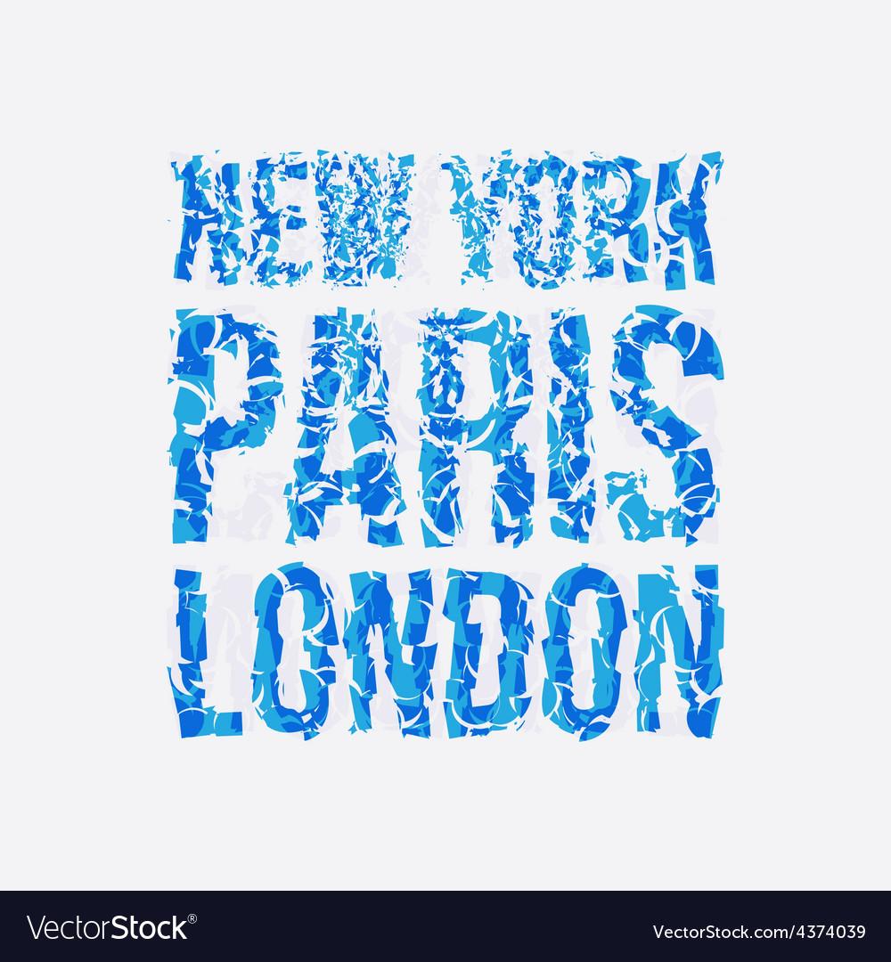 Capital new york paris london typography t-shirt vector | Price: 1 Credit (USD $1)