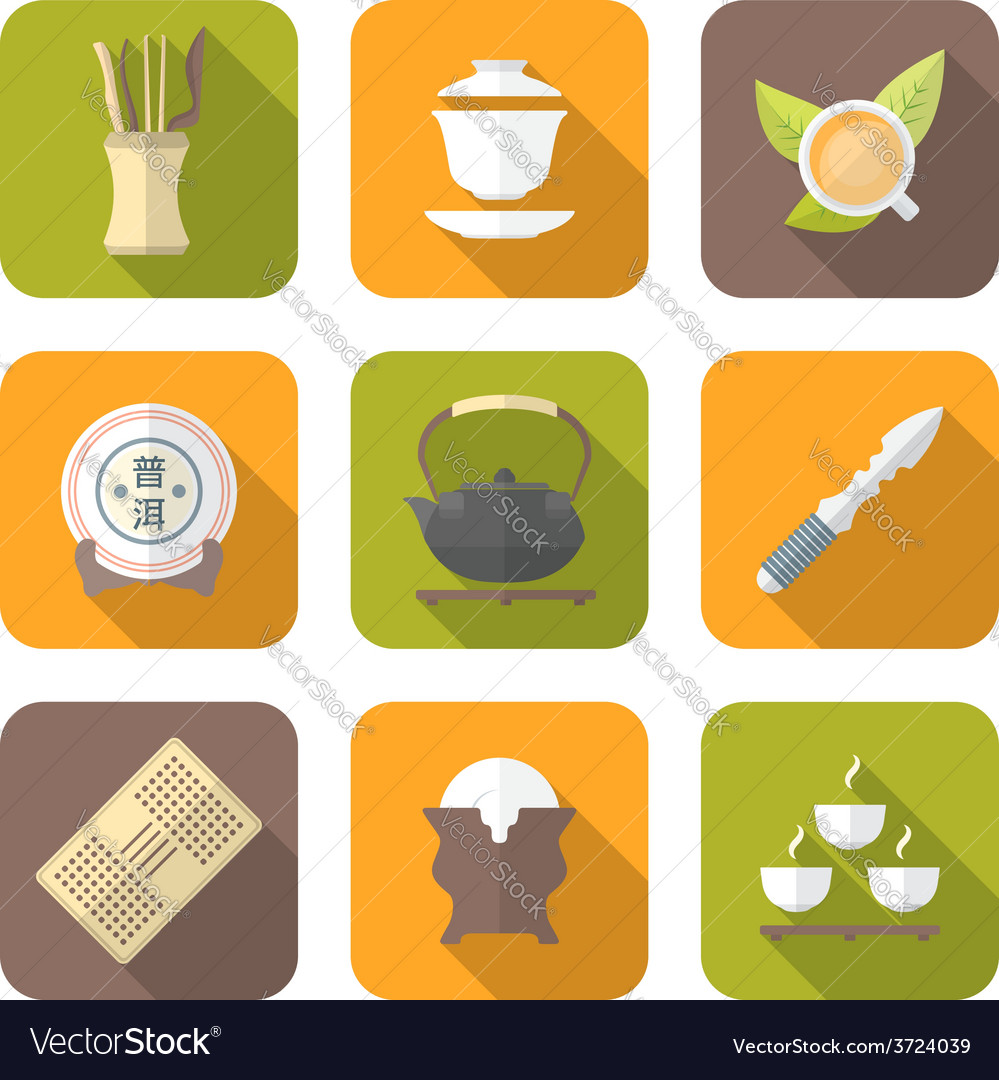 Color flat style chinese tea ceremony equipment vector | Price: 1 Credit (USD $1)