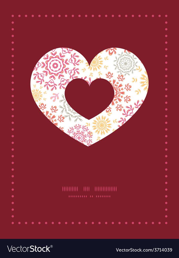 Folk floral circles abstract heart symbol vector | Price: 1 Credit (USD $1)