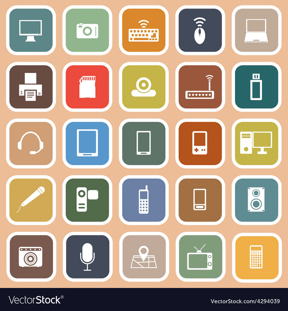 Gadget flat icons on orange background vector | Price: 1 Credit (USD $1)
