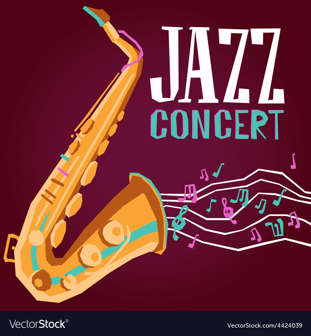 Jazz poster with saxophone vector | Price: 1 Credit (USD $1)