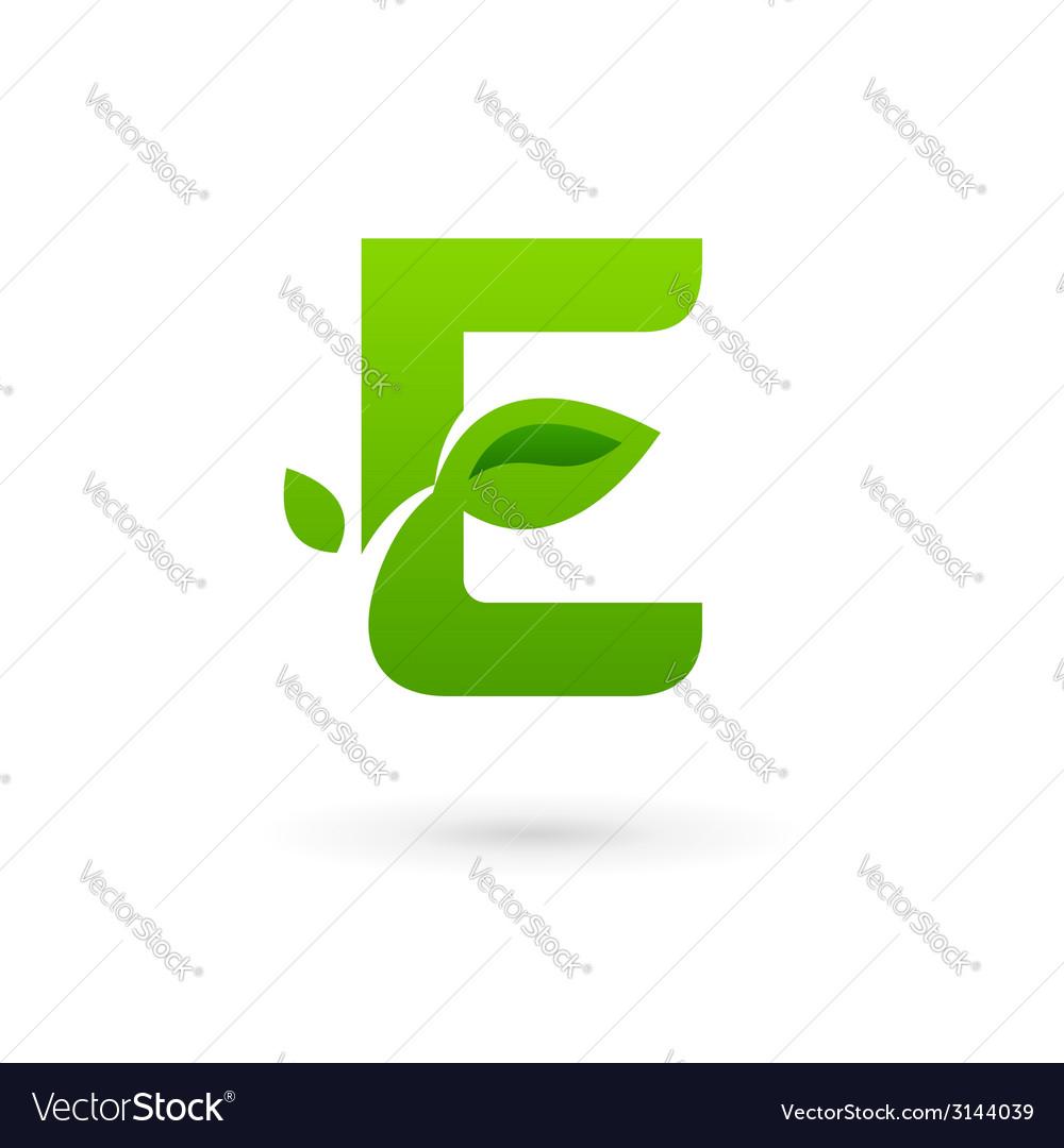 Letter e eco leaves logo icon design template vector | Price: 1 Credit (USD $1)