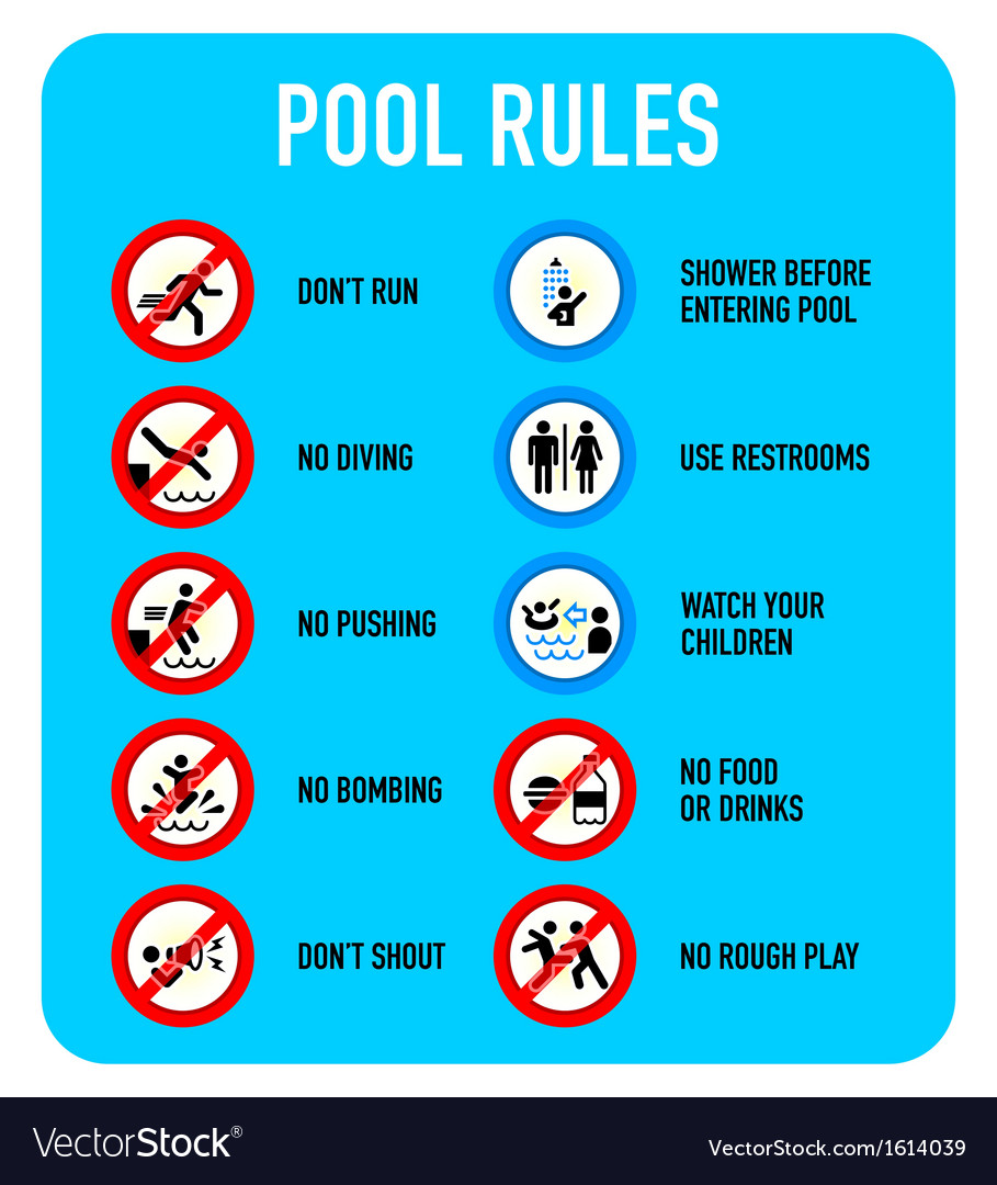 Pool rules signs vector | Price: 1 Credit (USD $1)