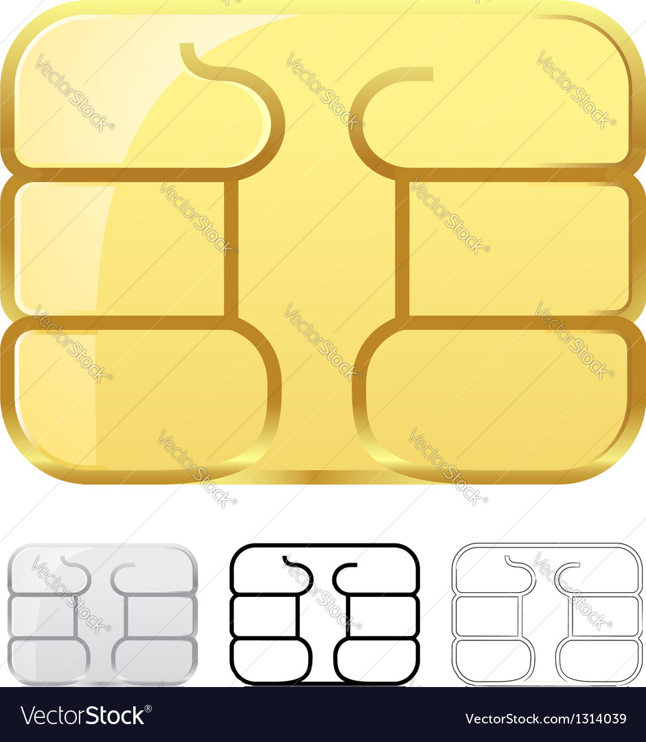 Sim card chip isolated on white vector | Price: 1 Credit (USD $1)