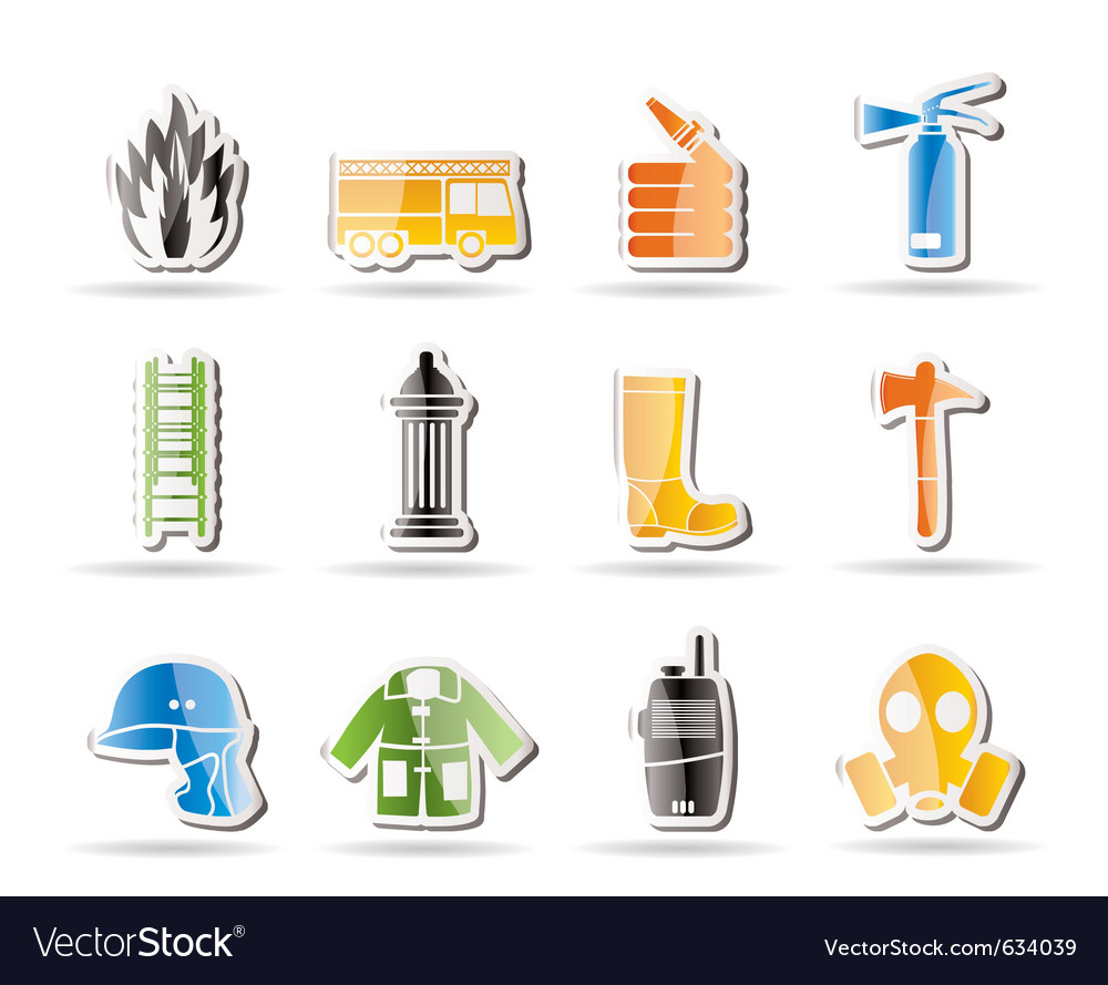 Simple fire-brigade and fireman equipment icon vector | Price: 1 Credit (USD $1)
