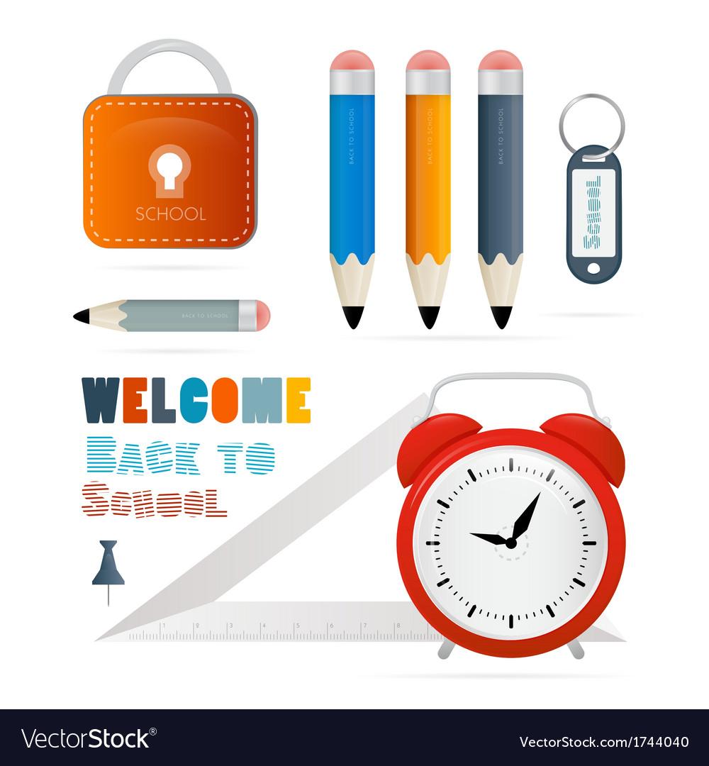 Back to school theme - ruler alarm clock pencils vector | Price: 1 Credit (USD $1)
