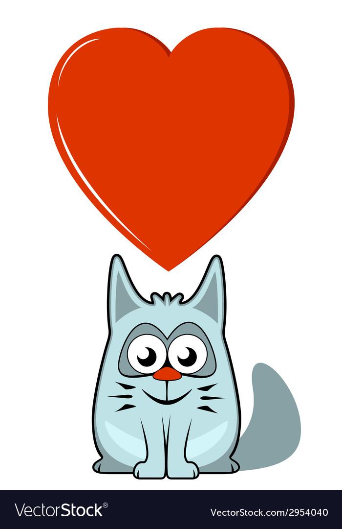 Cartoon cat with big heart vector | Price: 1 Credit (USD $1)