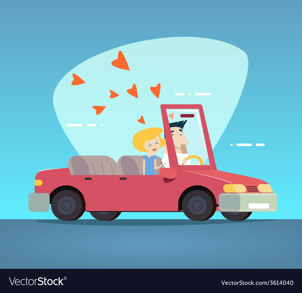 Cartoon convertible car happy male and female vector