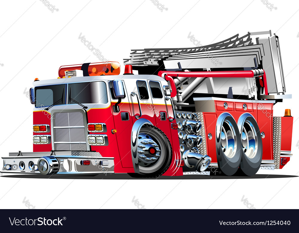 Cartoon fire truck vector | Price: 1 Credit (USD $1)