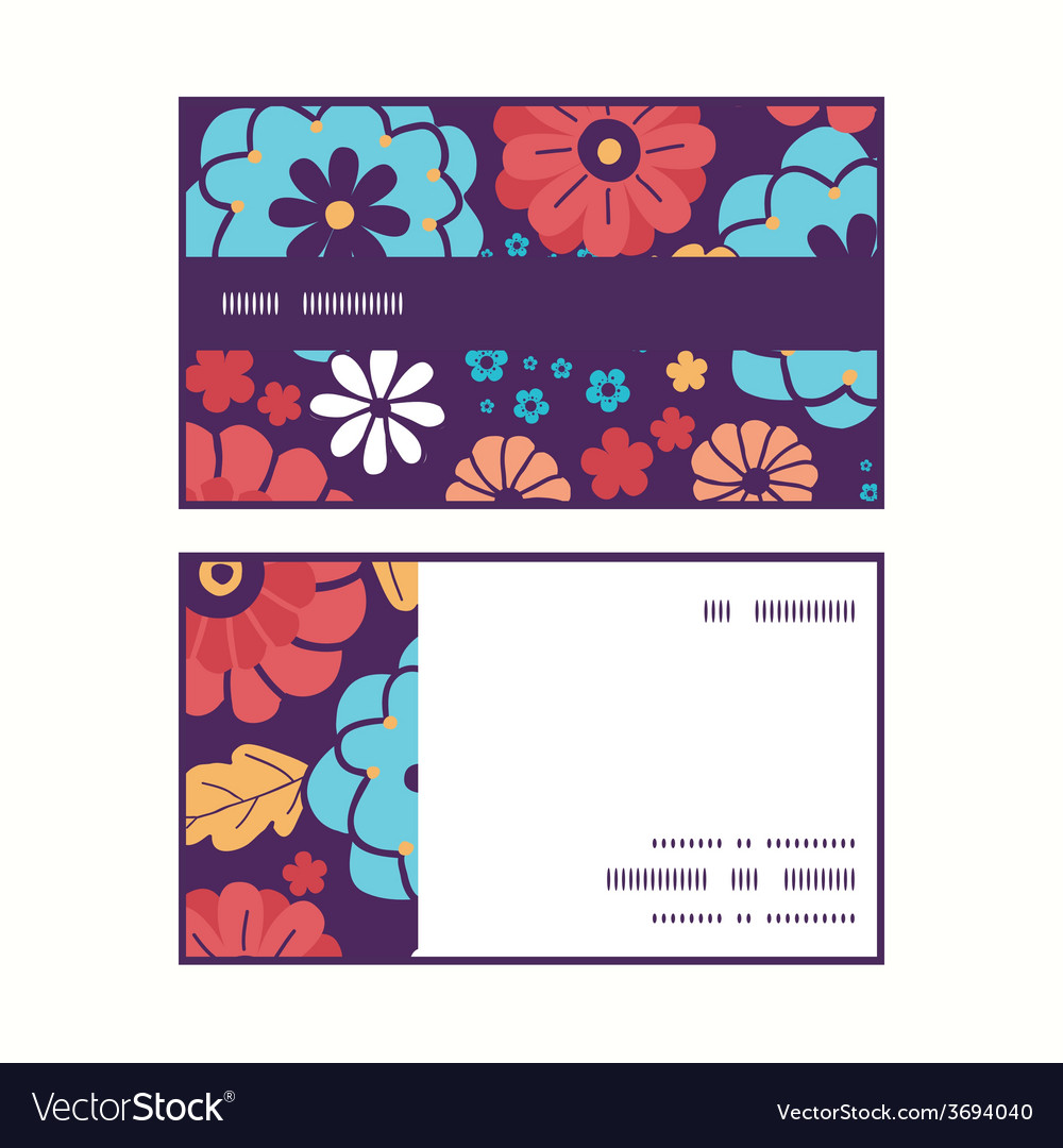 Colorful bouquet flowers horizontal stripe vector | Price: 1 Credit (USD $1)