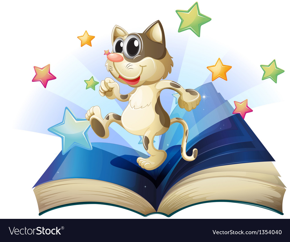 Dancing cat book vector | Price: 1 Credit (USD $1)