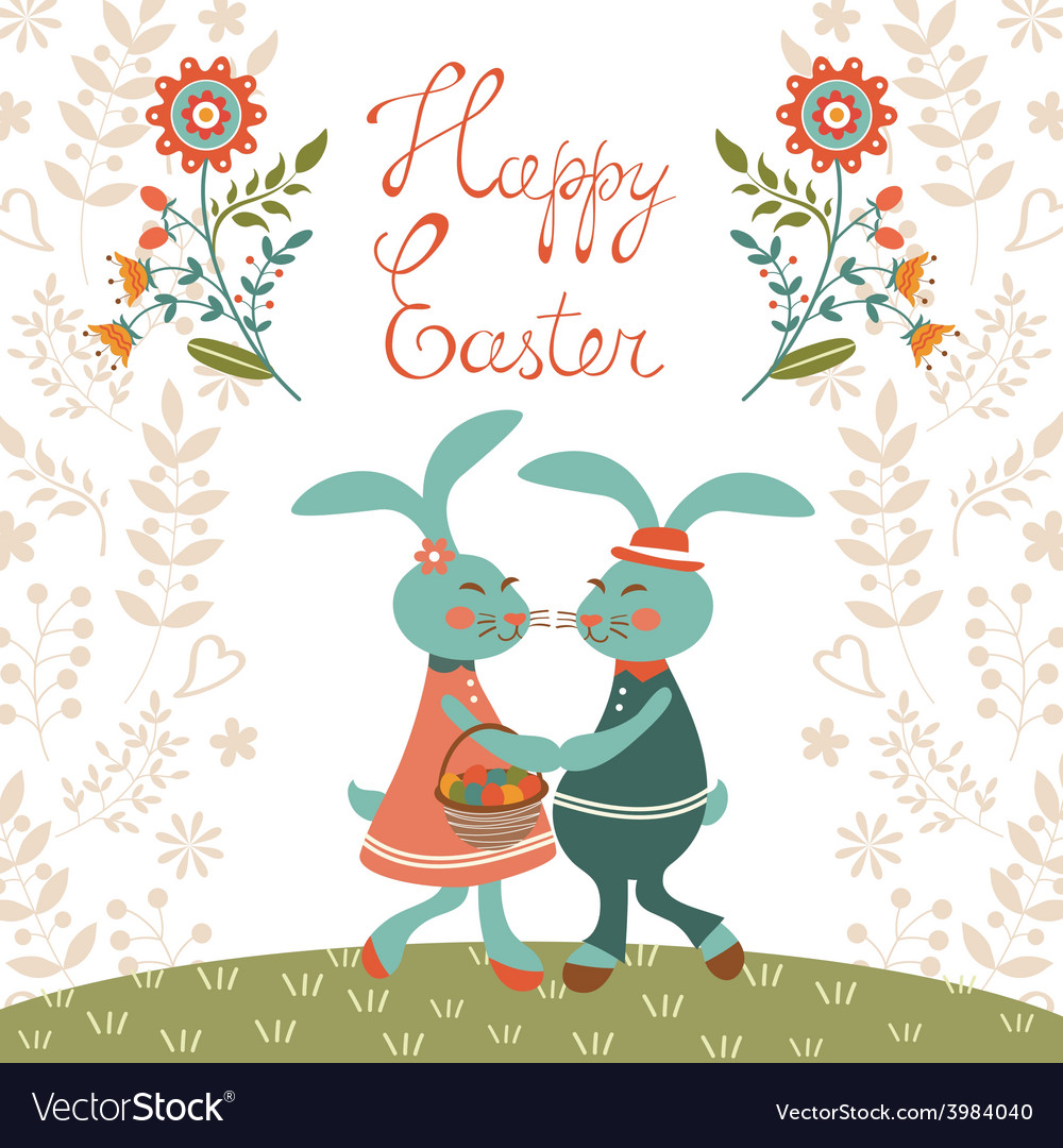 Easter card with cute rabbits vector | Price: 1 Credit (USD $1)