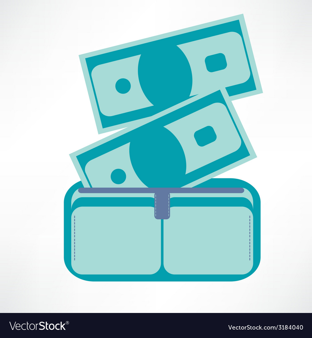 Full wallet flat icon isolated on a blue vector | Price: 1 Credit (USD $1)