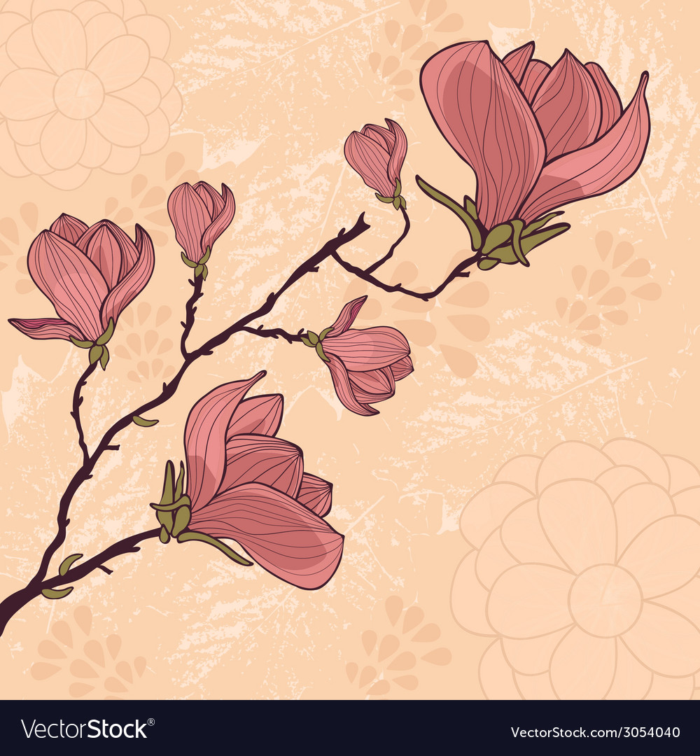 Magnolia flower card with place for your text vector | Price: 1 Credit (USD $1)