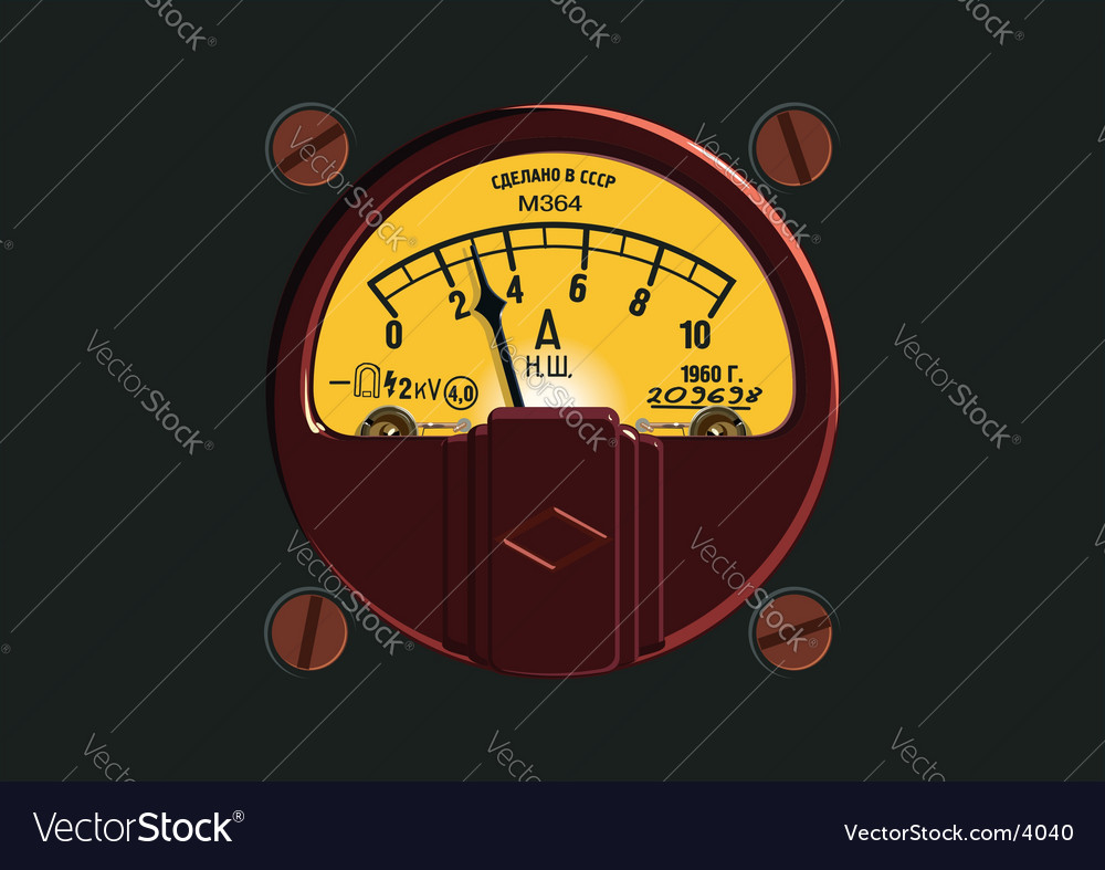 Old-fashioned ampermeter vector | Price: 3 Credit (USD $3)