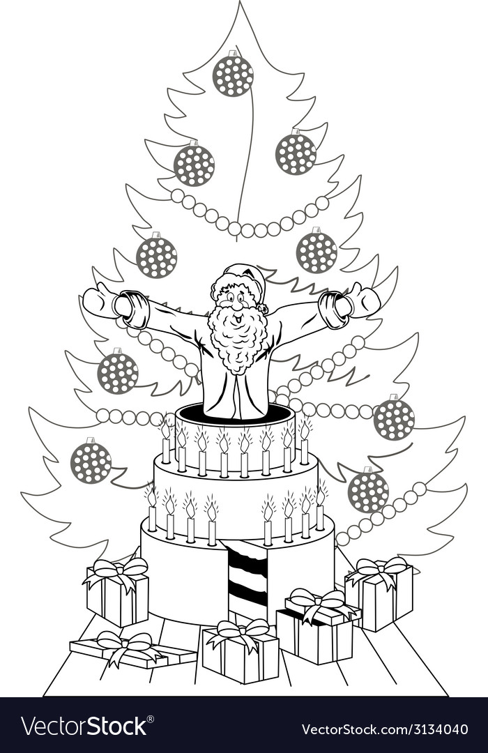 Santa claus jump out of the cake vector | Price: 1 Credit (USD $1)