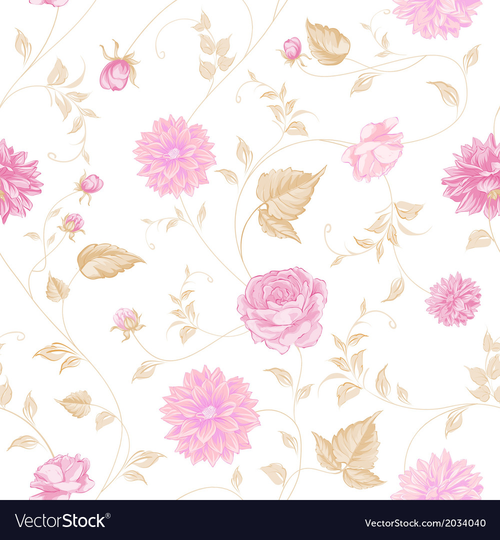 Seamless texture of pink roses for textiles vector | Price: 1 Credit (USD $1)