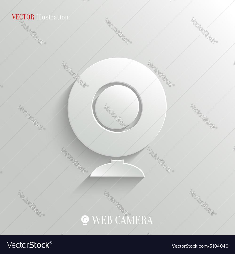 Webcamera icon - white app button vector | Price: 1 Credit (USD $1)