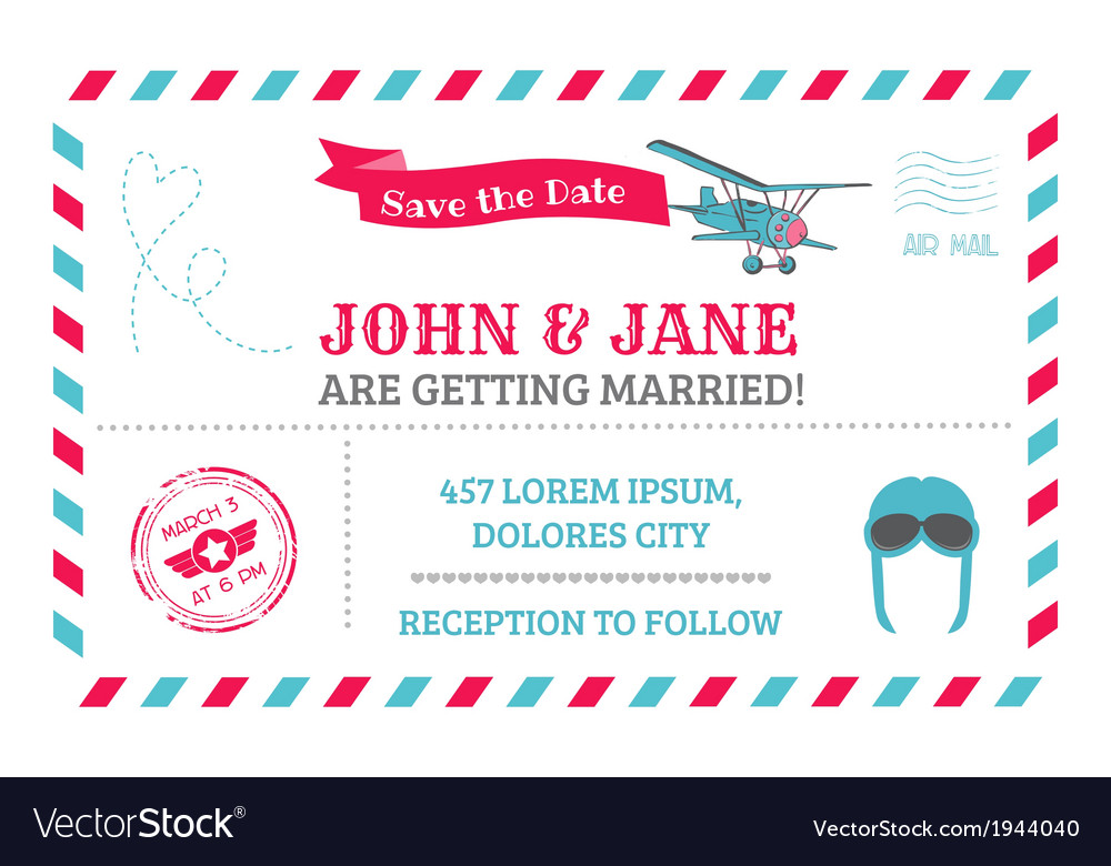 Wedding invitation card - airplane theme vector | Price: 1 Credit (USD $1)