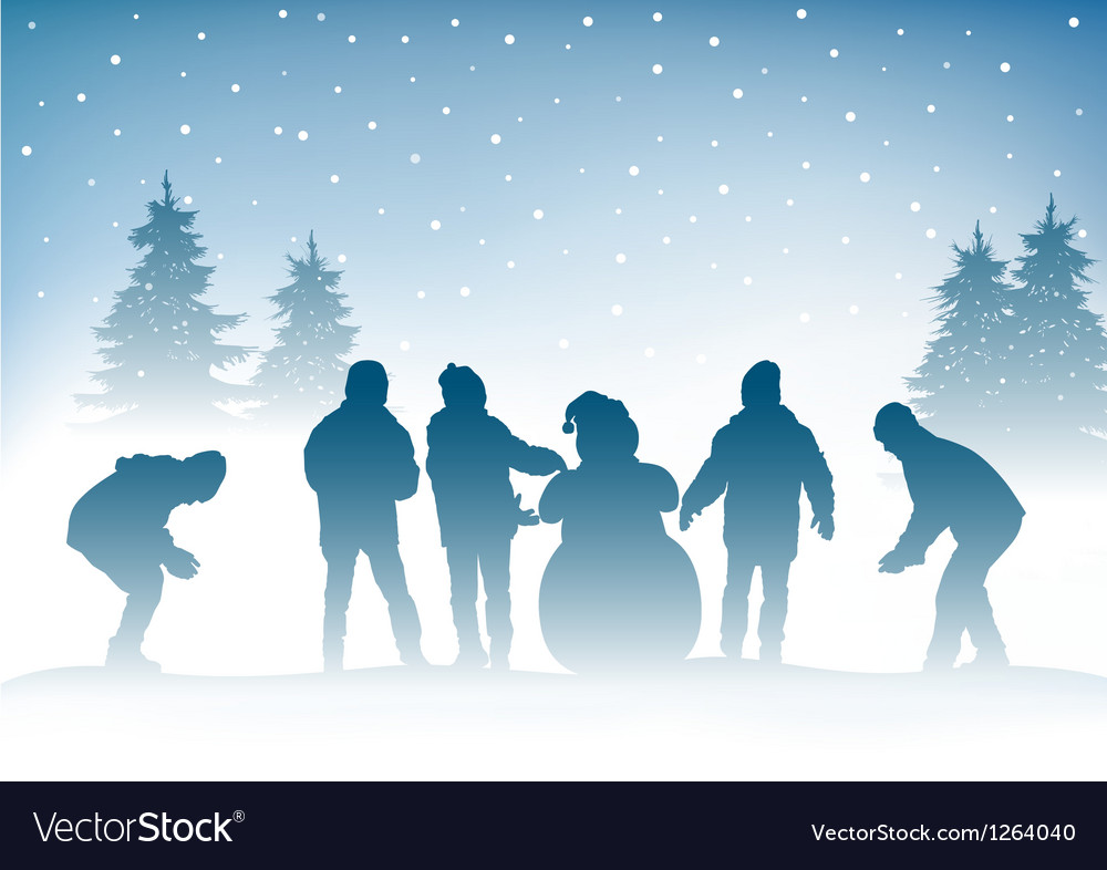 Winter and children vector | Price: 1 Credit (USD $1)