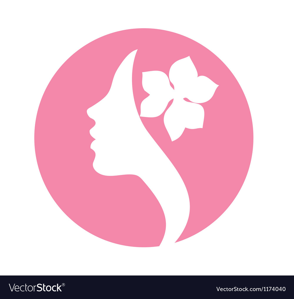 Young woman face profile silhouette pink icon vector
