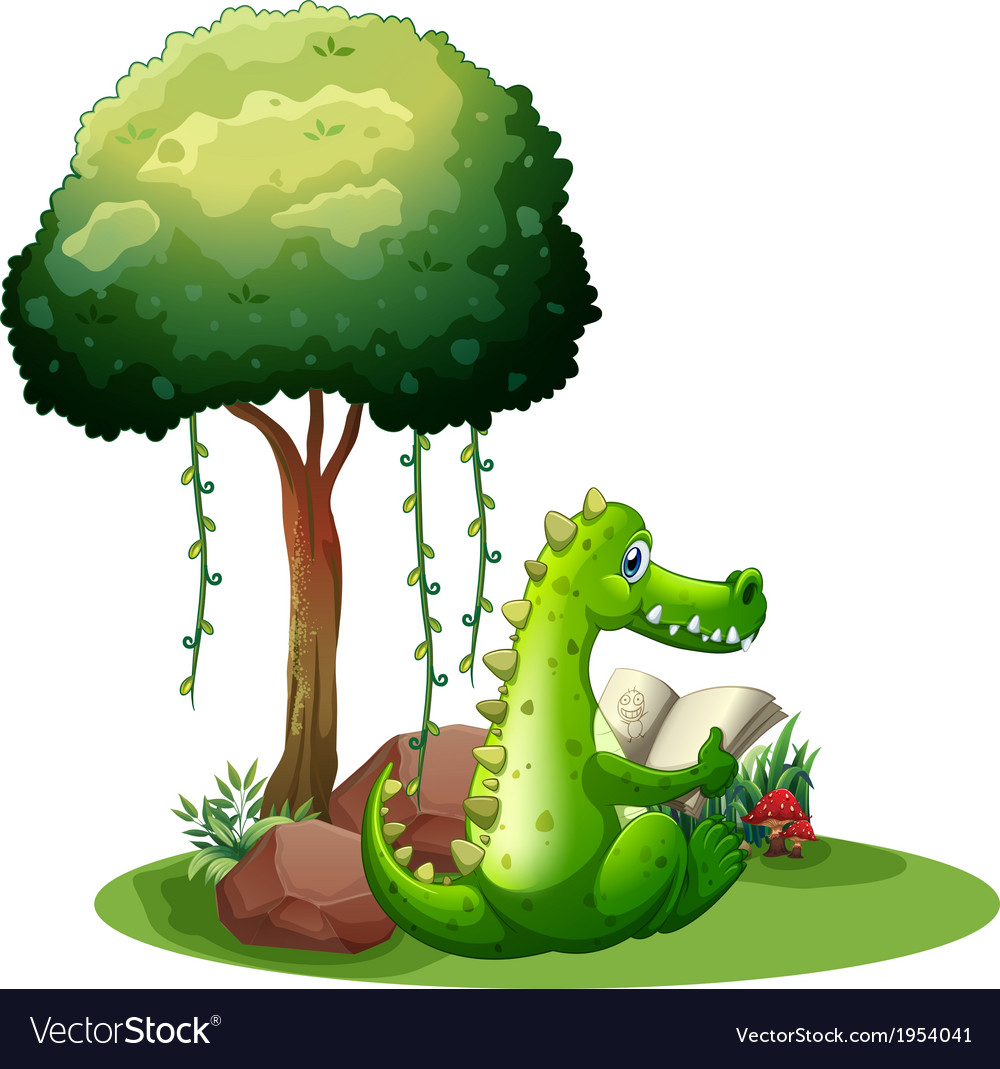 A crocodile reading beside the tree vector | Price: 1 Credit (USD $1)