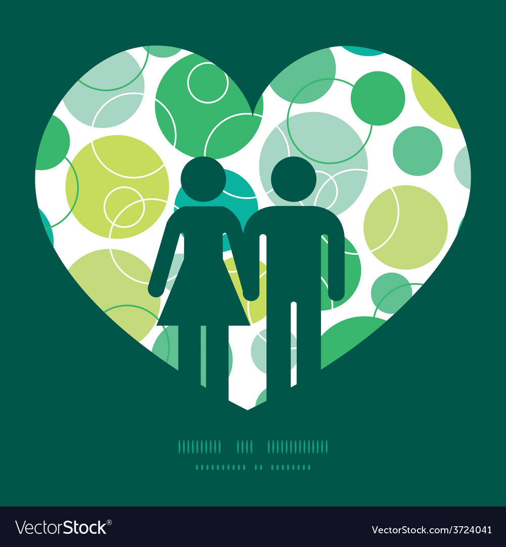 Abstract green circles couple in love vector | Price: 1 Credit (USD $1)