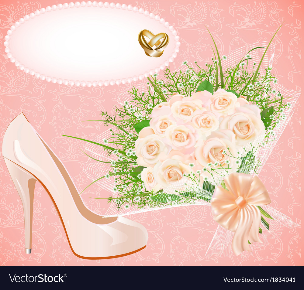 Background with shoes bouquet and rings f vector | Price: 1 Credit (USD $1)