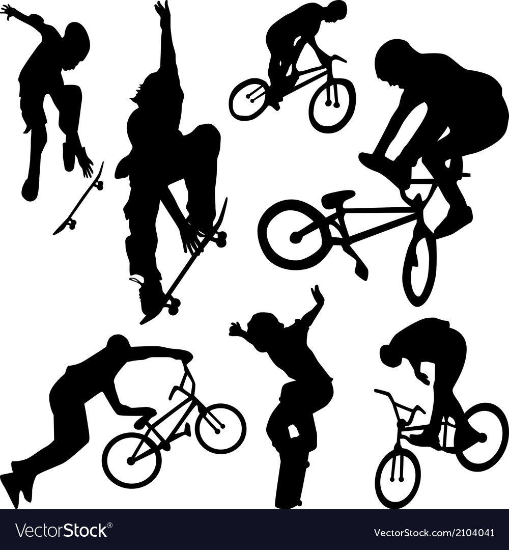 Bicyclist silhouette vector | Price: 1 Credit (USD $1)